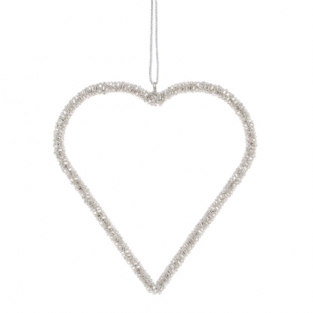 Silver Hanging Heart Decoration - Medium